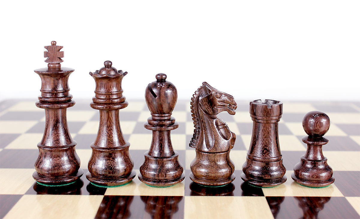 "Rosewood Chess pieces Galaxy Staunton 3"" + 2 Extra Queens - Triple Weighted"