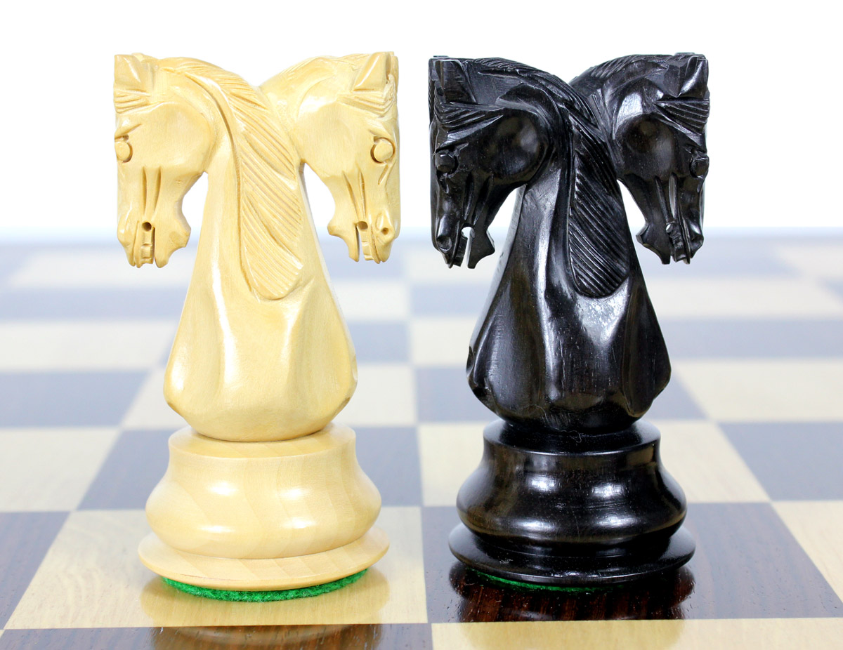 "Ebony/Boxwood Chess Set Pieces Twin Knight Staunton 4.6"" (117 mm) - Triple Weighted + 2 Extra Queens + Wooden Storage Box"