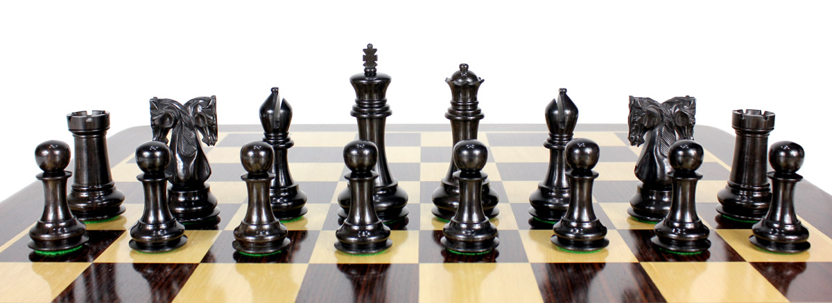 All chess pieces are triple weighted. Total weight of the chess set is 6.503 lbs (2950 grams)