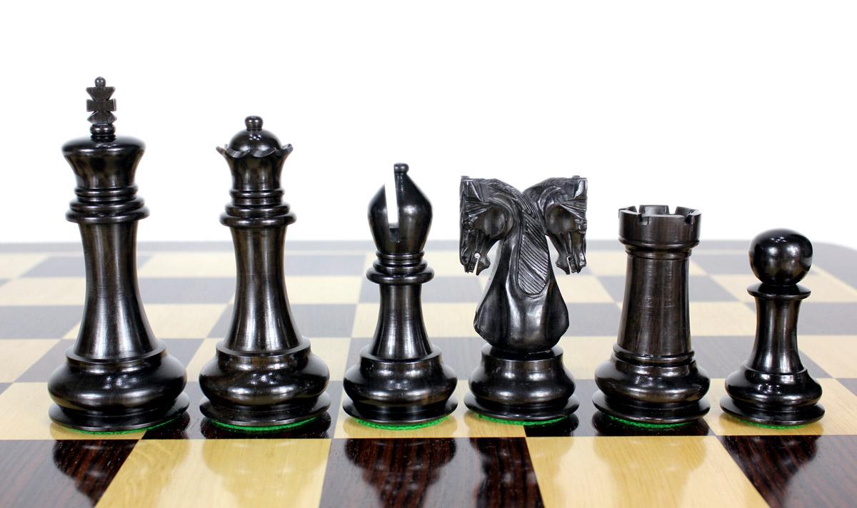 Beautiful Ebony wood chess pieces.