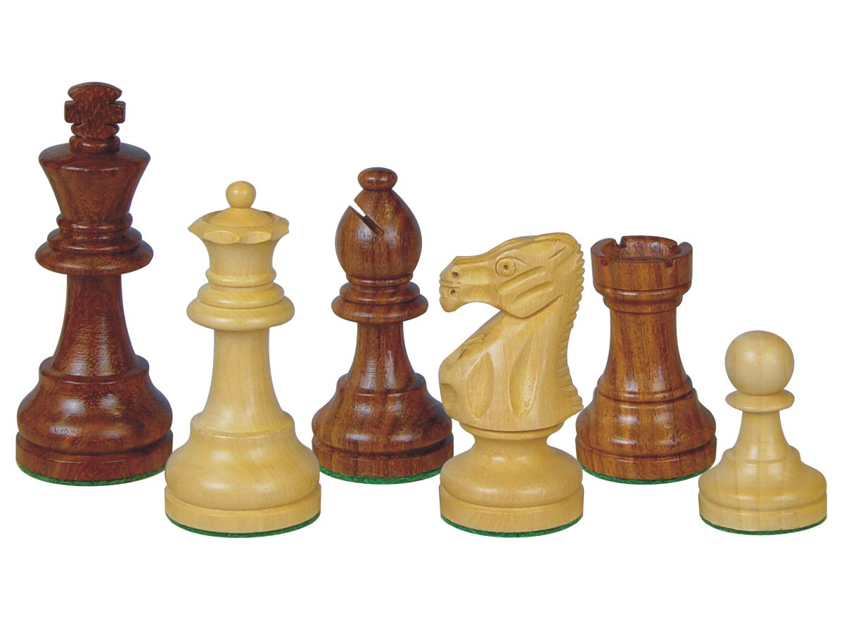 "Popular Staunton Tournament Wood Chess Set Pieces 3-3/4"" Golden Rosewood/Boxwood"