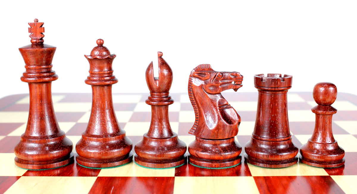 "Bud Rosewood/Boxwood Chess Set Pieces Monarch Staunton Tournament Size 4"" (102 mm) + 2 Extra Queens + Wooden Storage Box"