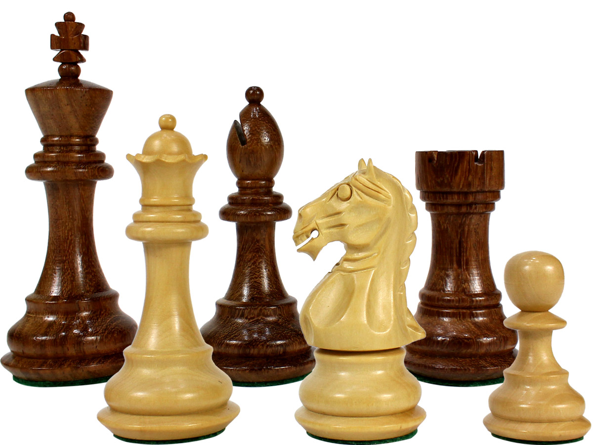 "Fierce Knight Staunton Wooden Chess Pieces King Size 3"" Golden Rosewood/Boxwood"