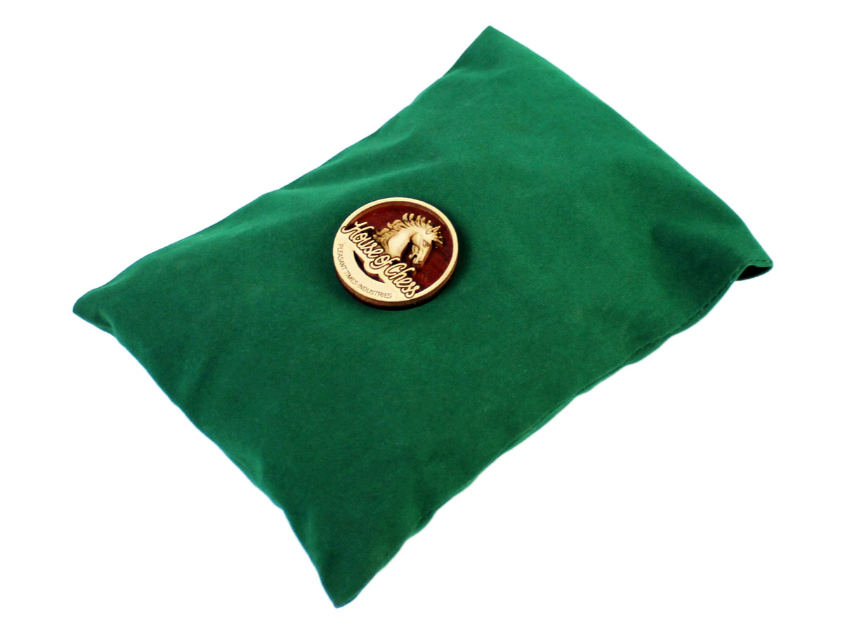 Green Velvet pouch with Wooden House of Chess Logo