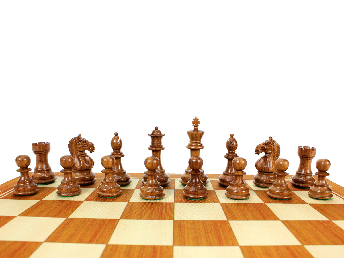 Fierce Knight Staunton Golden Rosewood Chess Set Pieces on Board