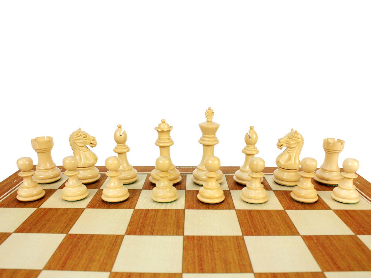 Fierce Knight Staunton Boxwood Chess Set Pieces on Board