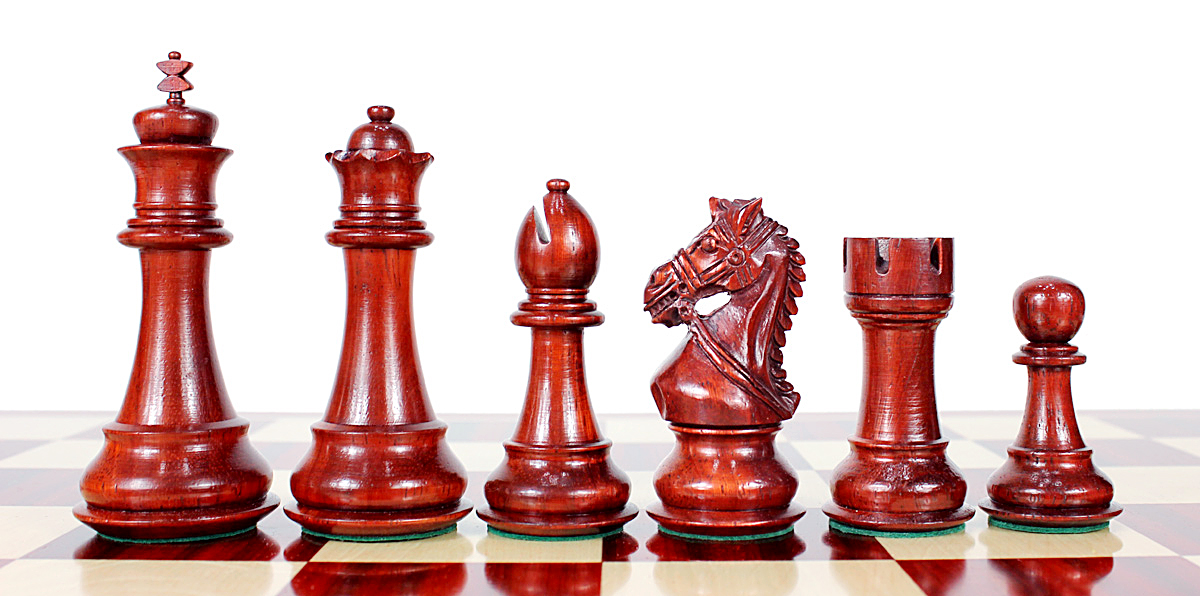 Beautiful Bud Rosewood chess pieces with beveled bases.