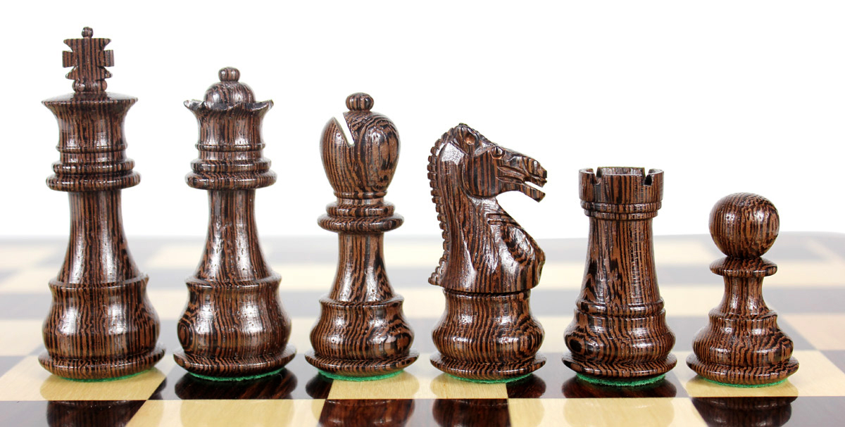 Beautiful Wenge chess pieces with beveled bases
