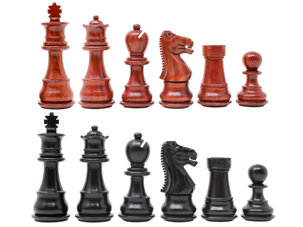 "Galaxy Staunton Ebony / Blood Wood Chess Set Pieces King Height 3"" - Triple Weighted + 2 Extra Queens"
