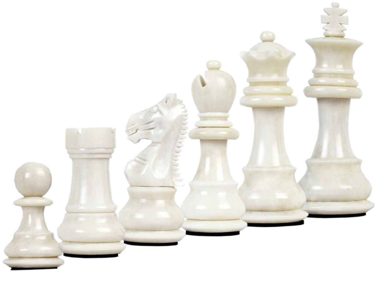 Camel Bone Hand Carved Emperor Staunton White Chess Pieces