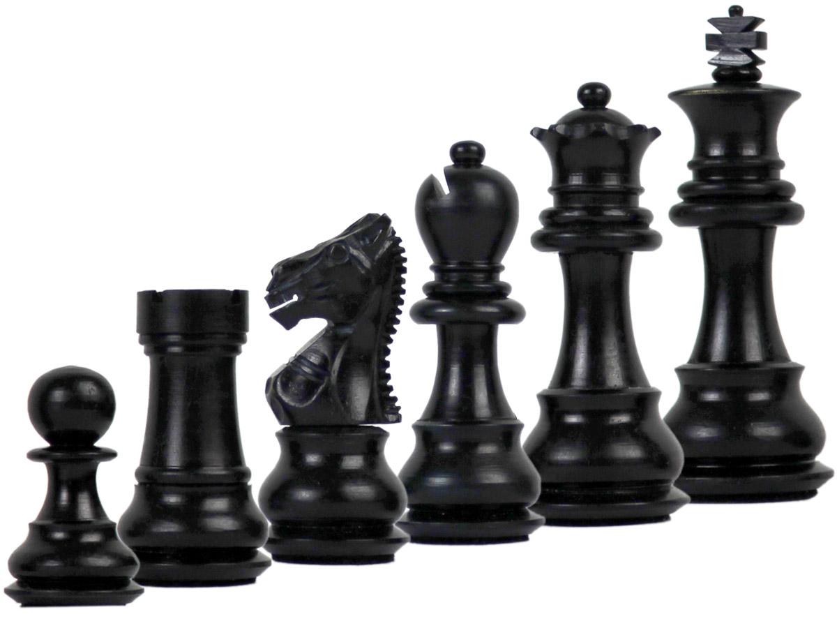 Camel Bone Hand Carved Emperor Staunton Black Chess Pieces
