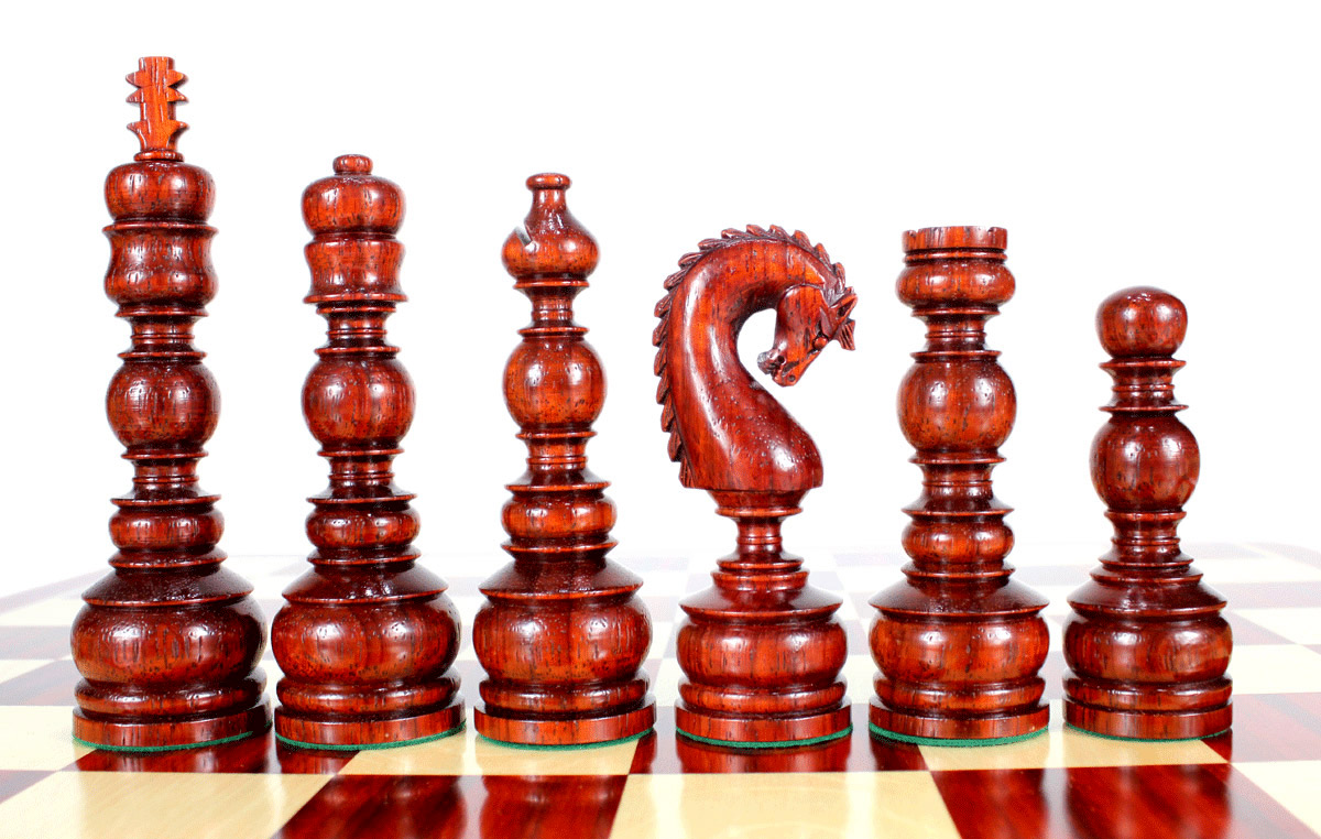"Bud Rosewood Chess Set Pieces Classy Knight 6.5"" (165 mm) - Triple Weighted + 2 Extra Queens"