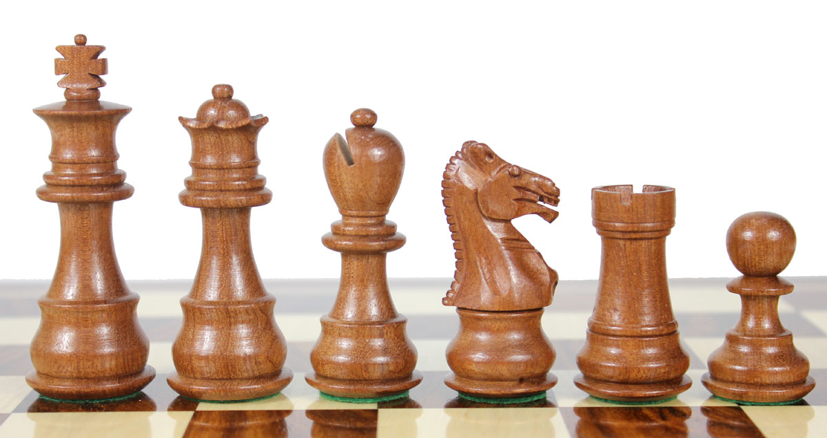 Beautiful Mahogany chess pieces with beveled bases.