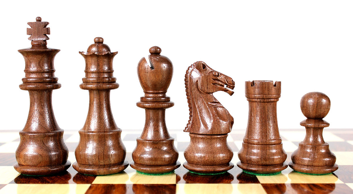 Beautiful Walnut chess pieces with beveled bases.