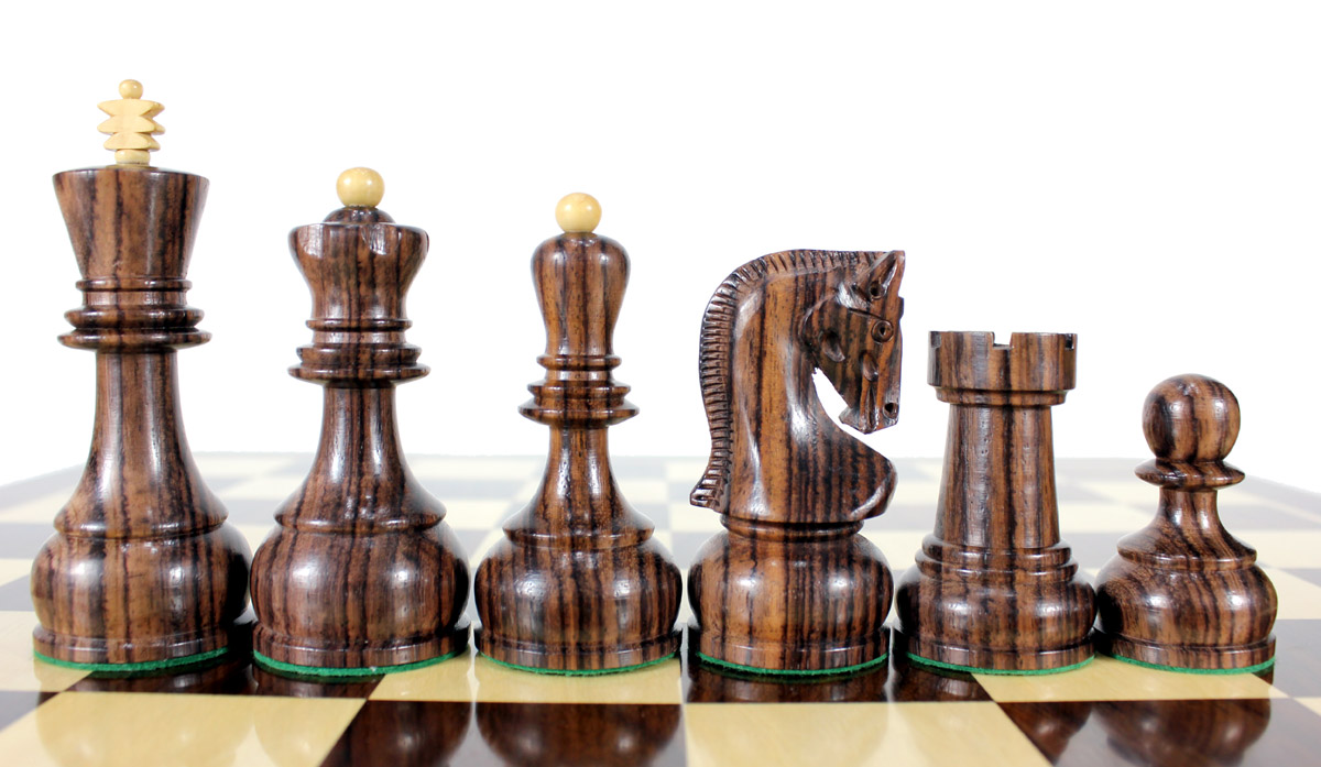 "Rosewood / Boxwood Chess Set Pieces Yugo (Zagreb) Staunton 4"" (102 mm) + 2 Extra Queens + Wooden Storage Box"