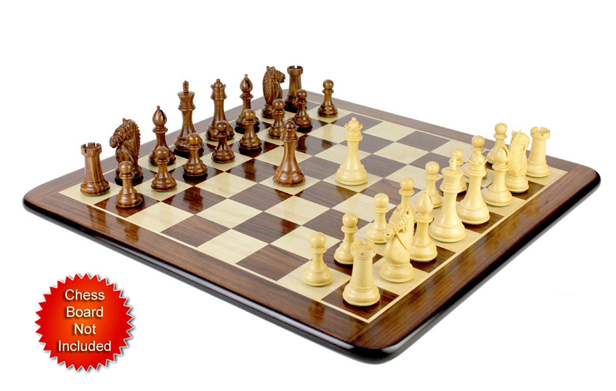 Chess Pieces placed on matching flat Chess board