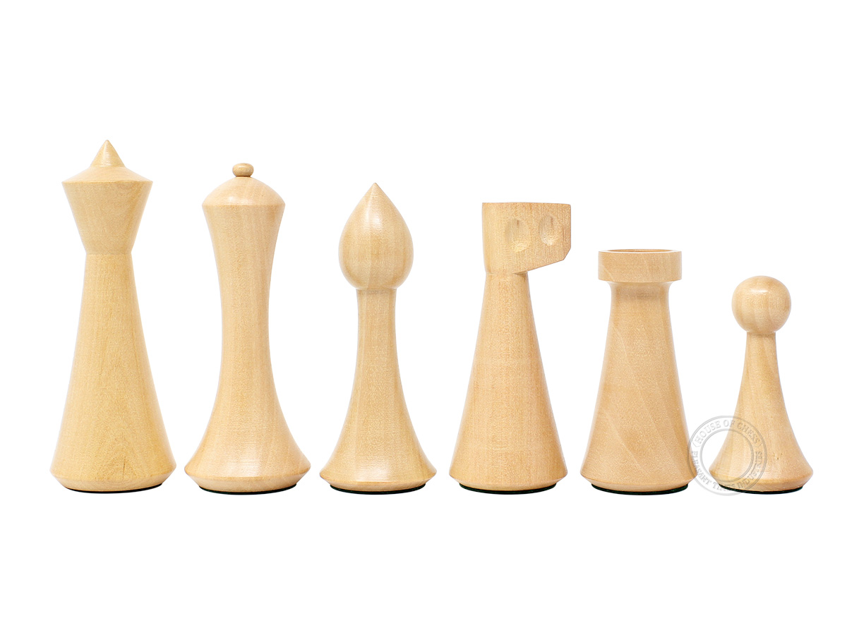 "House of Chess Reproduced Abstract Design 3.75"" Boxwood Chess Pieces"