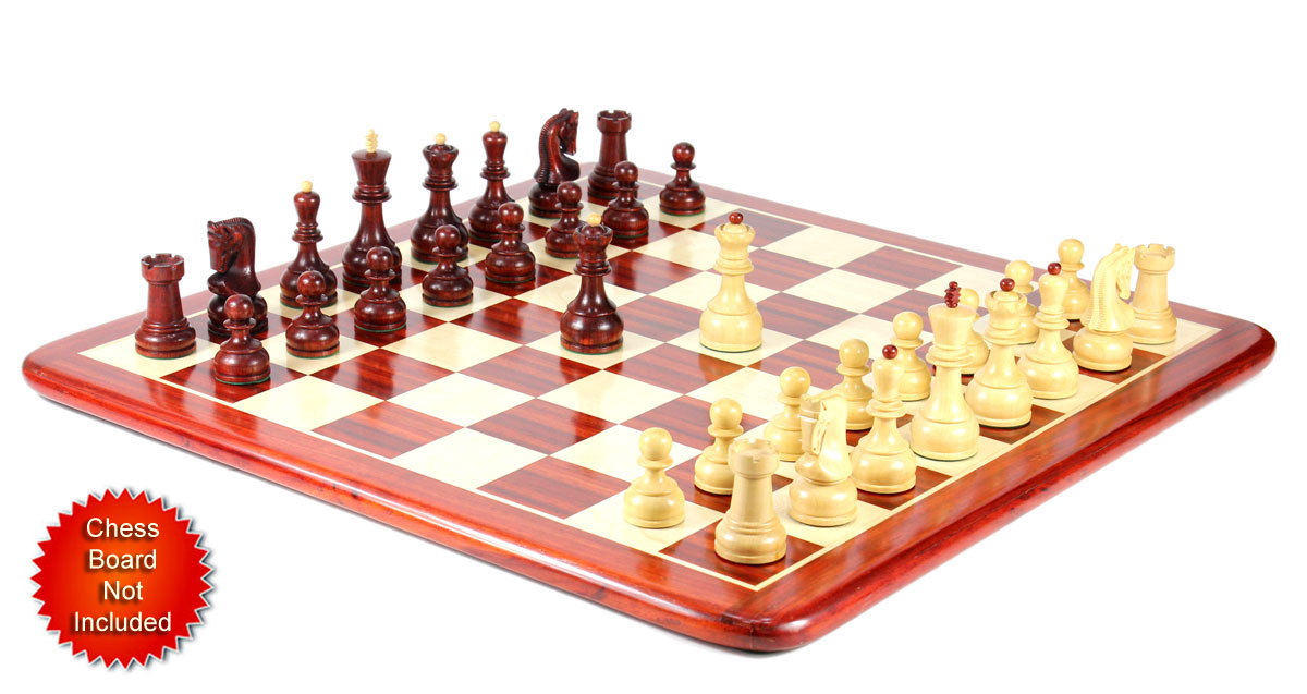 "Bud Rosewood / Boxwood Chess Set Pieces Yugo (Zagreb) Staunton 4"" (102 mm) + 2 Extra Queens - Triple Weighted + Wooden Storage Box"