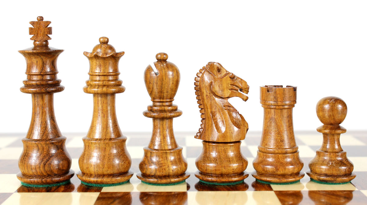 Beautiful Golden Rosewood chess pieces with beveled bases.
