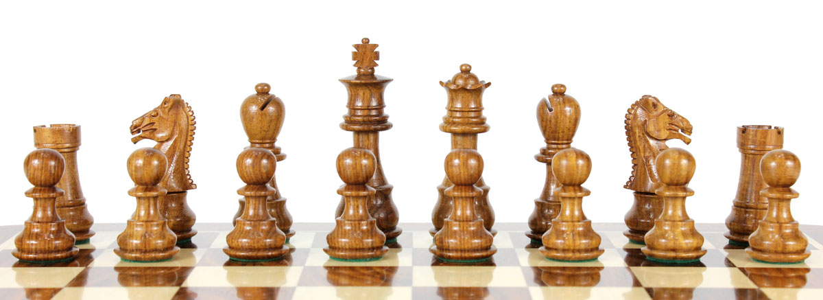 All chess pieces are triple weighted. Total weight of the chess set is 1.675 lbs (760 grams).