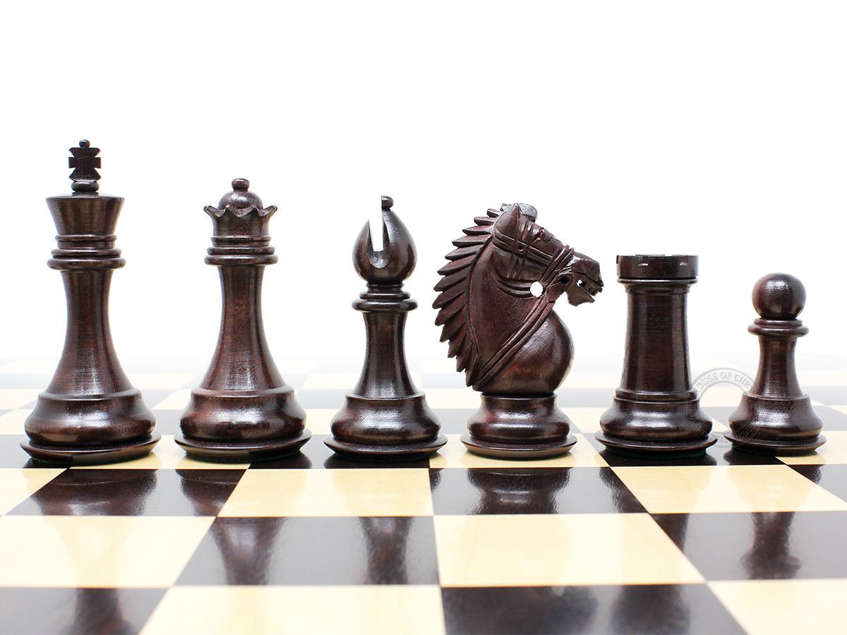 "Ringy Rosewood/Boxwood Chess Set Pieces Rio Staunton 4.0"" (102 mm) - 2 Extra Queens - Triple Weighted"