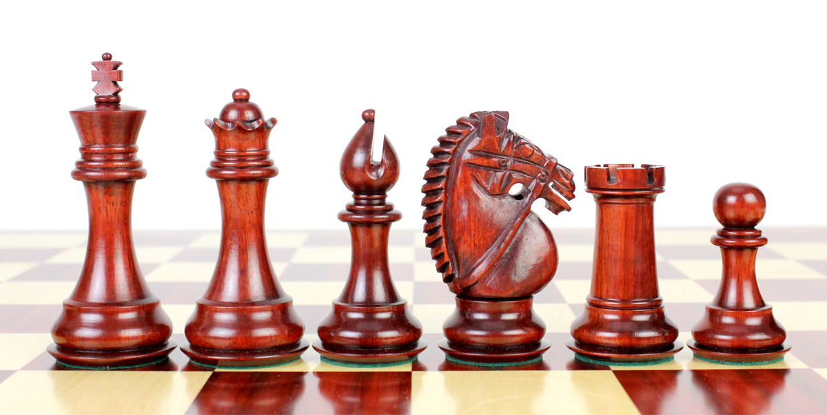 "Bud Rosewood / Boxwood Chess Set Pieces Rio Staunton 4.0"" (102 mm) - 2 Extra Queens - Triple Weighted"