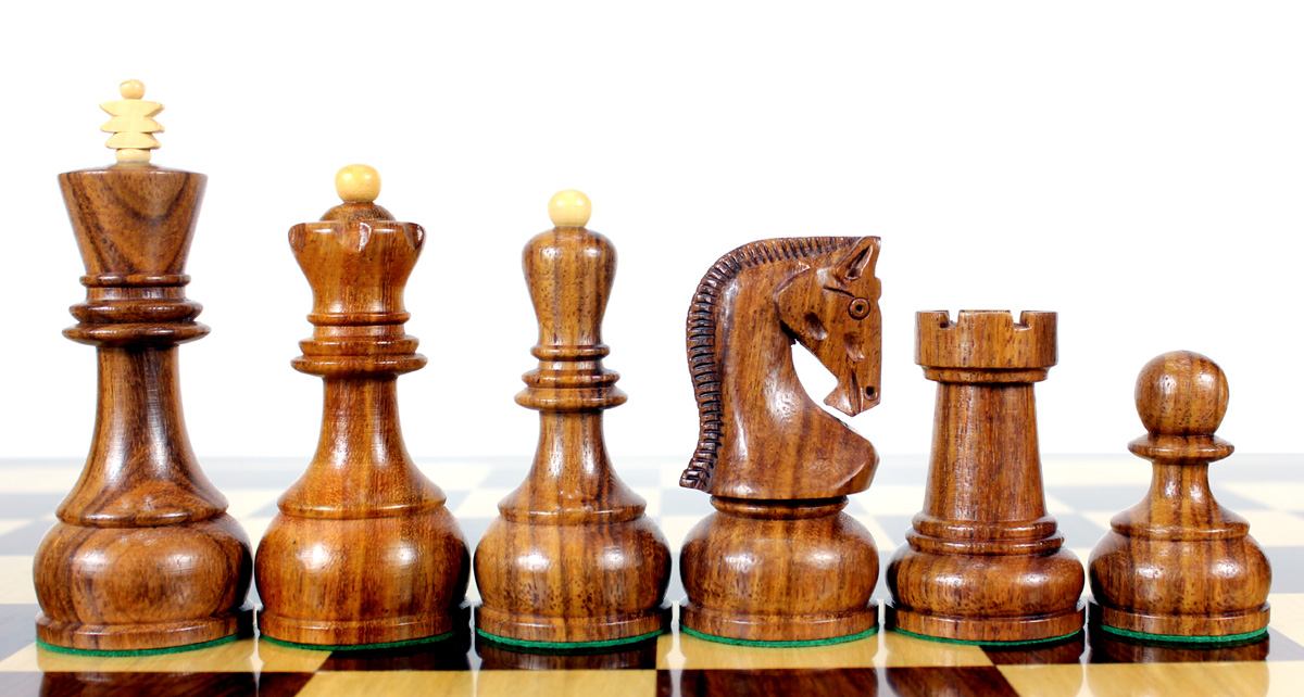 "Golden Rosewood / Boxwood Chess Set Pieces Yugo (Zagreb) Staunton 4"" (102 mm) + 2 Extra Queens + Wooden Storage Box"