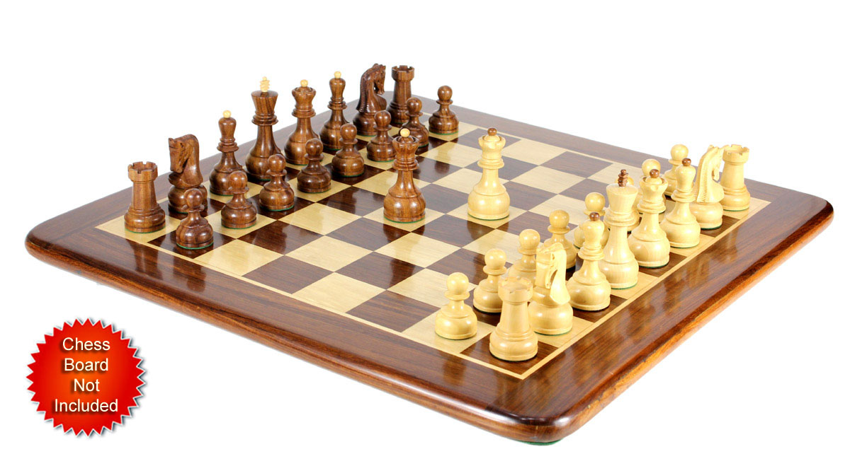 Chess Pieces placed on matching Golden Rosewood flat board