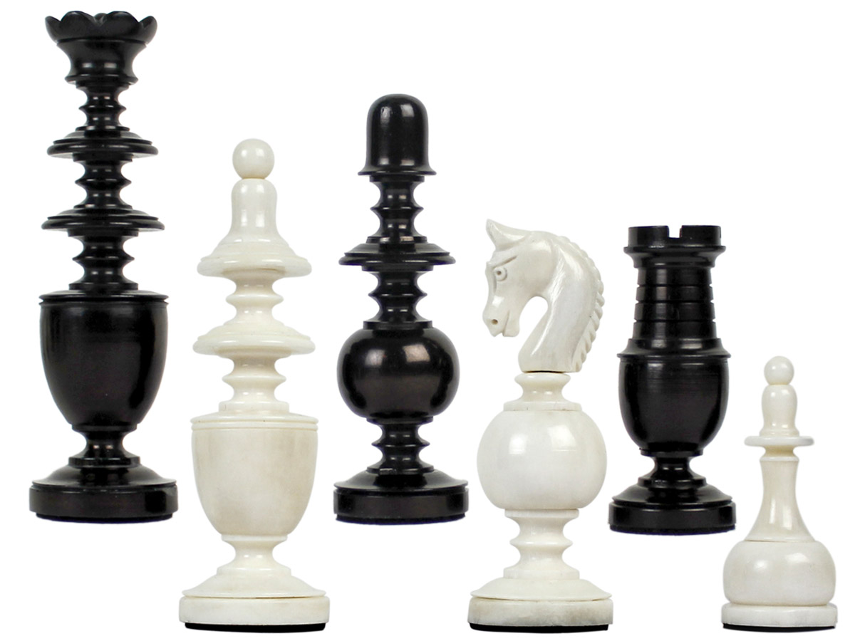 "Camel Bone Hand Carved French Regence Chess Pieces King Size 4"" Faux Ivory/Black"