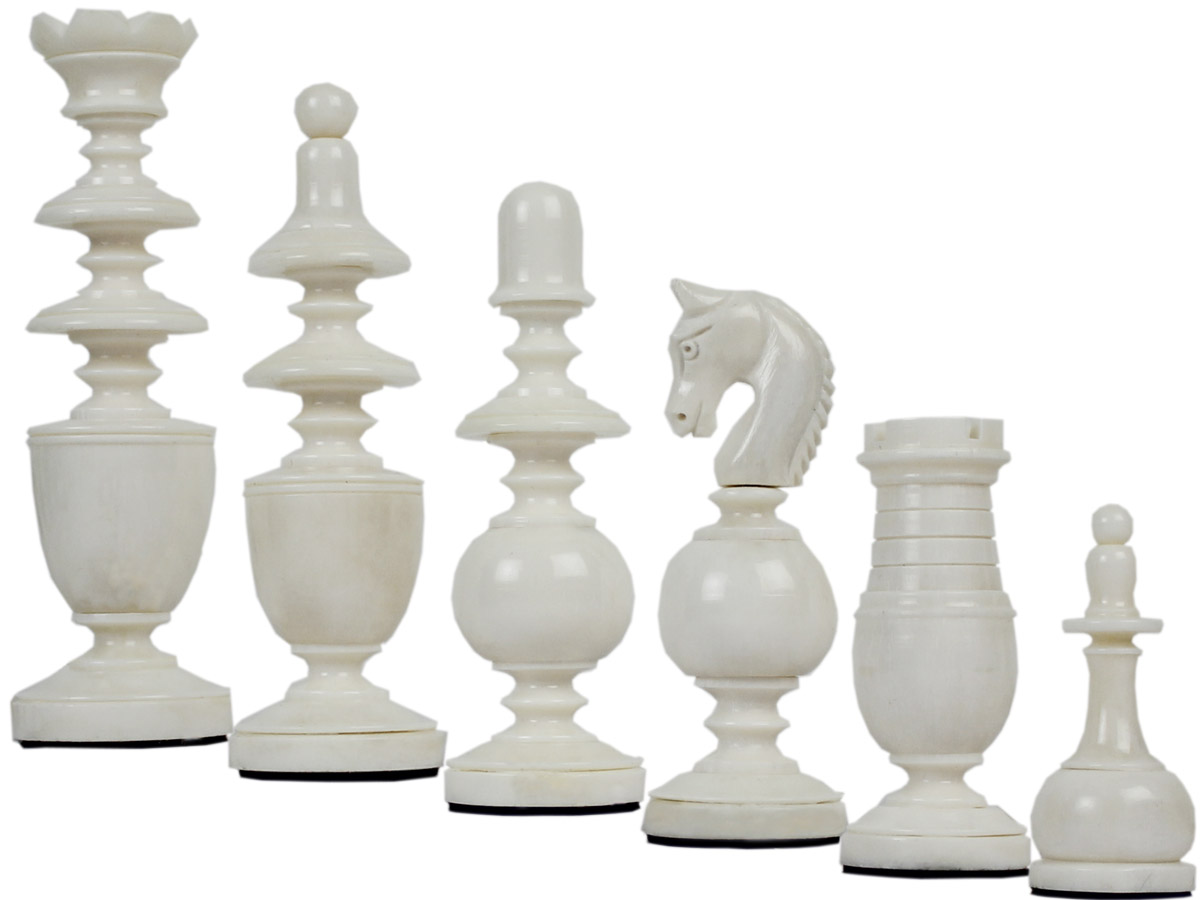Camel Bone Hand Carved French Regence Black Chess Pieces