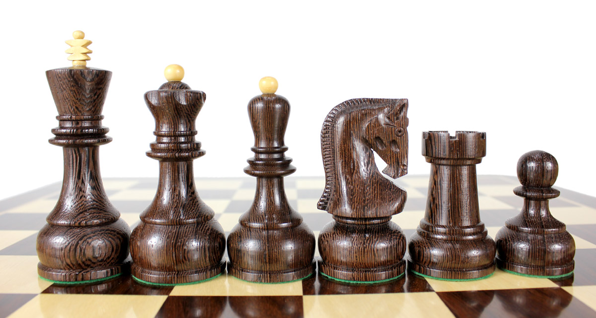 "Wenge Wood / Boxwood Chess Set Pieces Yugo (Zagreb) Staunton 4"" (102 mm) + 2 Extra Queens + Wooden Storage Box"
