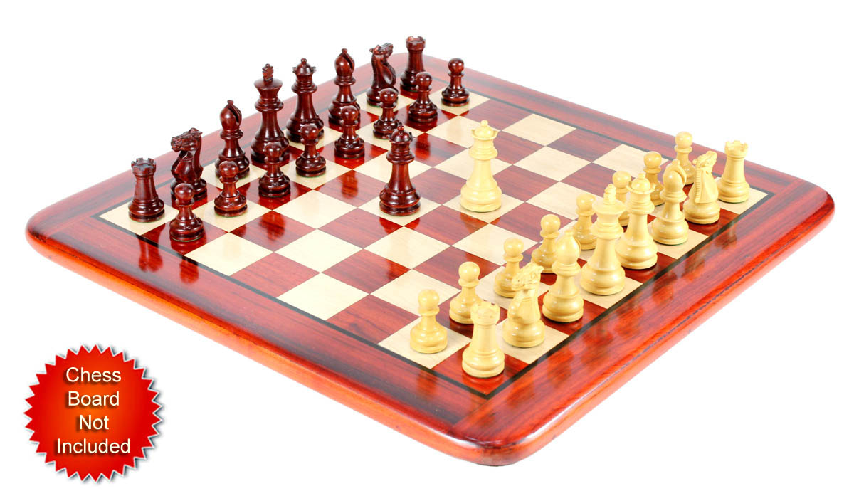 "Wood Chess Set Pieces Monarch Staunton King Size 3"" Bud Rosewood/Boxwood"