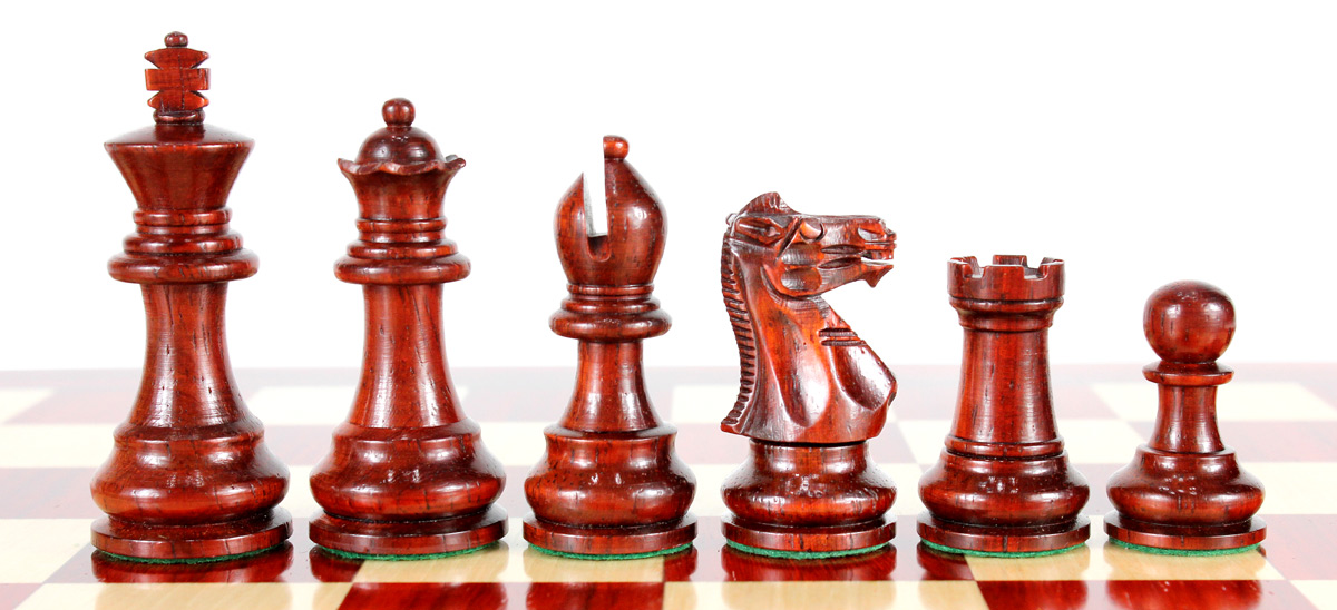 Monarch Staunton Bud Rosewood Chess Pieces