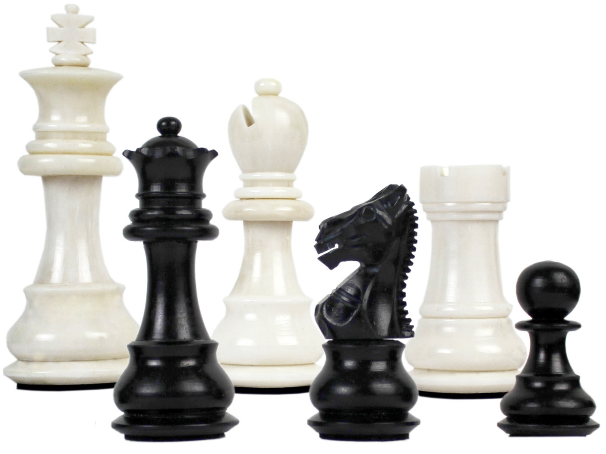 "Camel Bone Hand Carved Emperor Staunton Chess Pieces King Size 3"" Faux Ivory/Black"