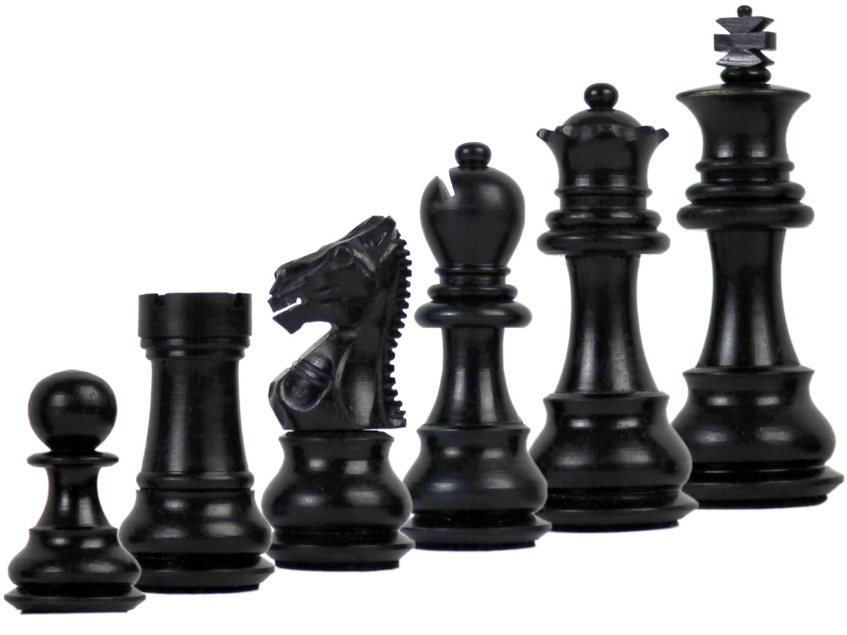 Camel Bone Hand Carved Emperor Staunton Black Chess Pieces