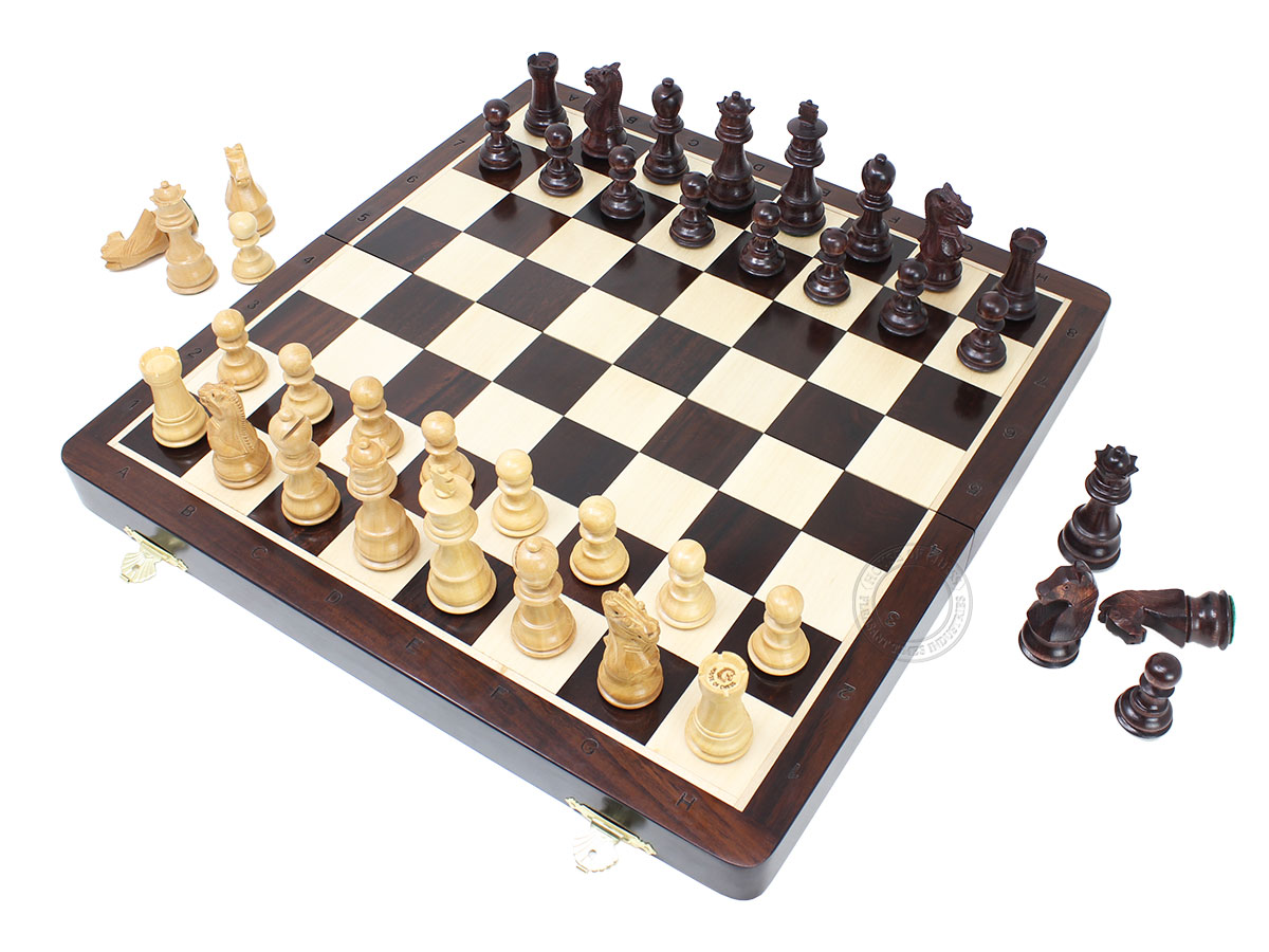 "Ringy Rosewood/Boxwood Chess Set Pieces Galaxy Staunton 3"" + Ringy Rosewood Folding Board"