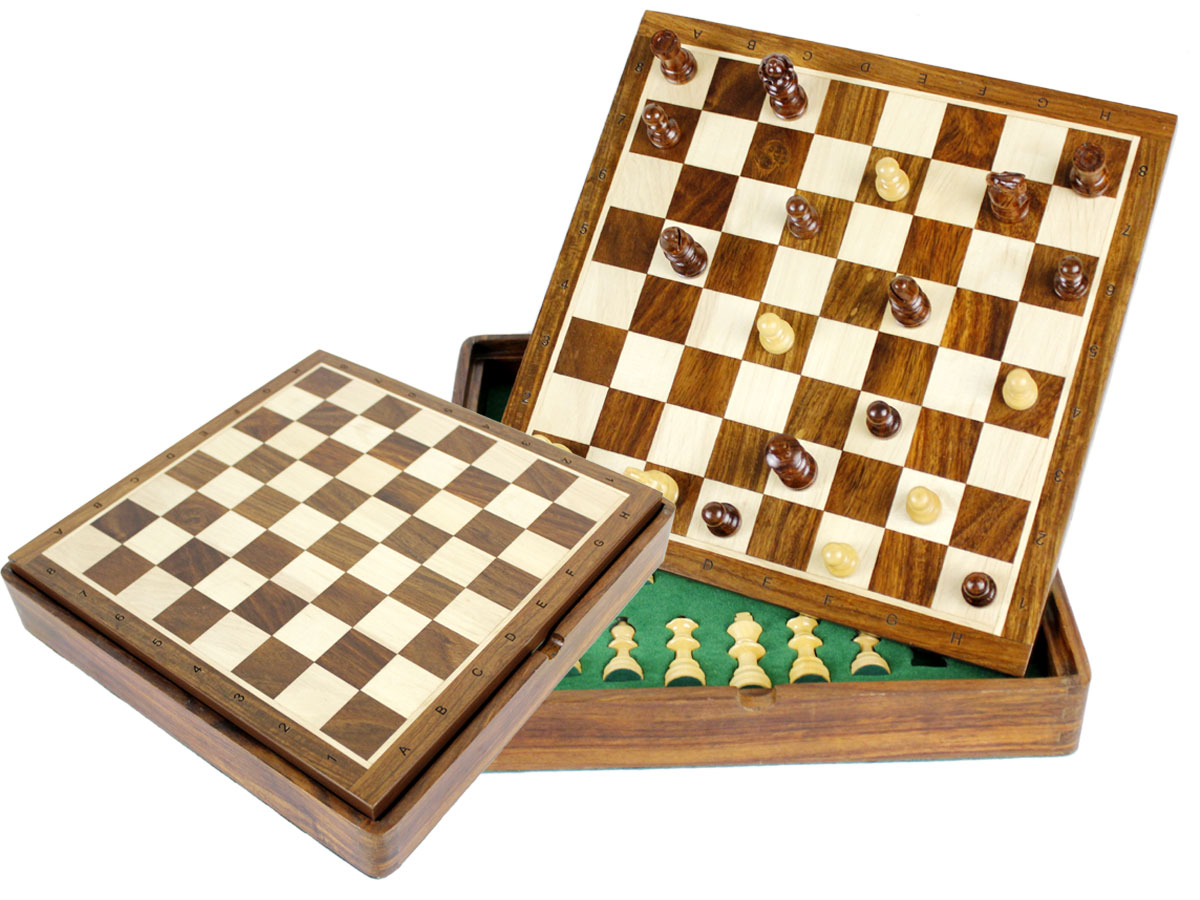 "Travel Chess Set Magnetic Flip Up Board 10"" with Algebraic Notations Golden Rosewood/Maple"