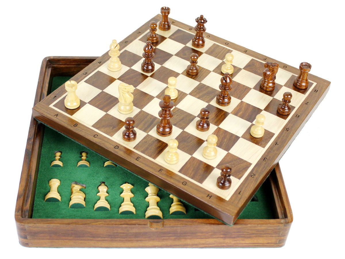 Flip up chess board tilted and box with inserts