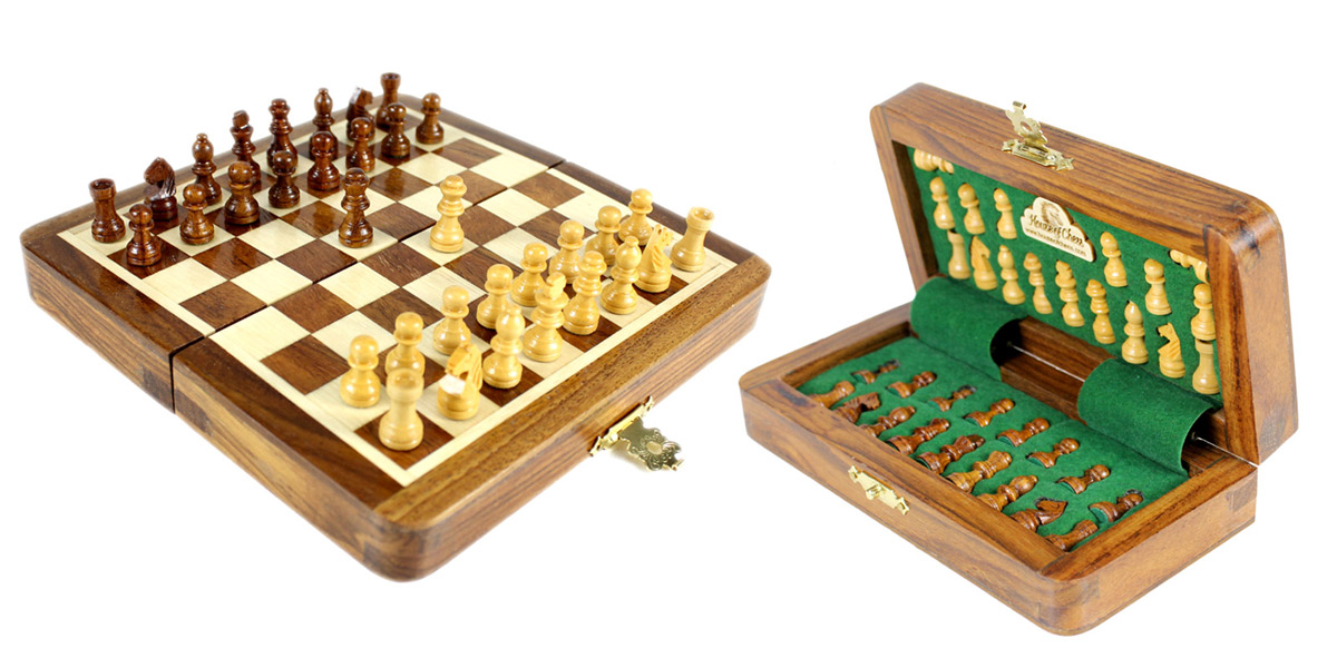 "5"" Wooden Chess Set Travel Magnetic Folding Board Golden Rosewood + 2 Extra Queens"