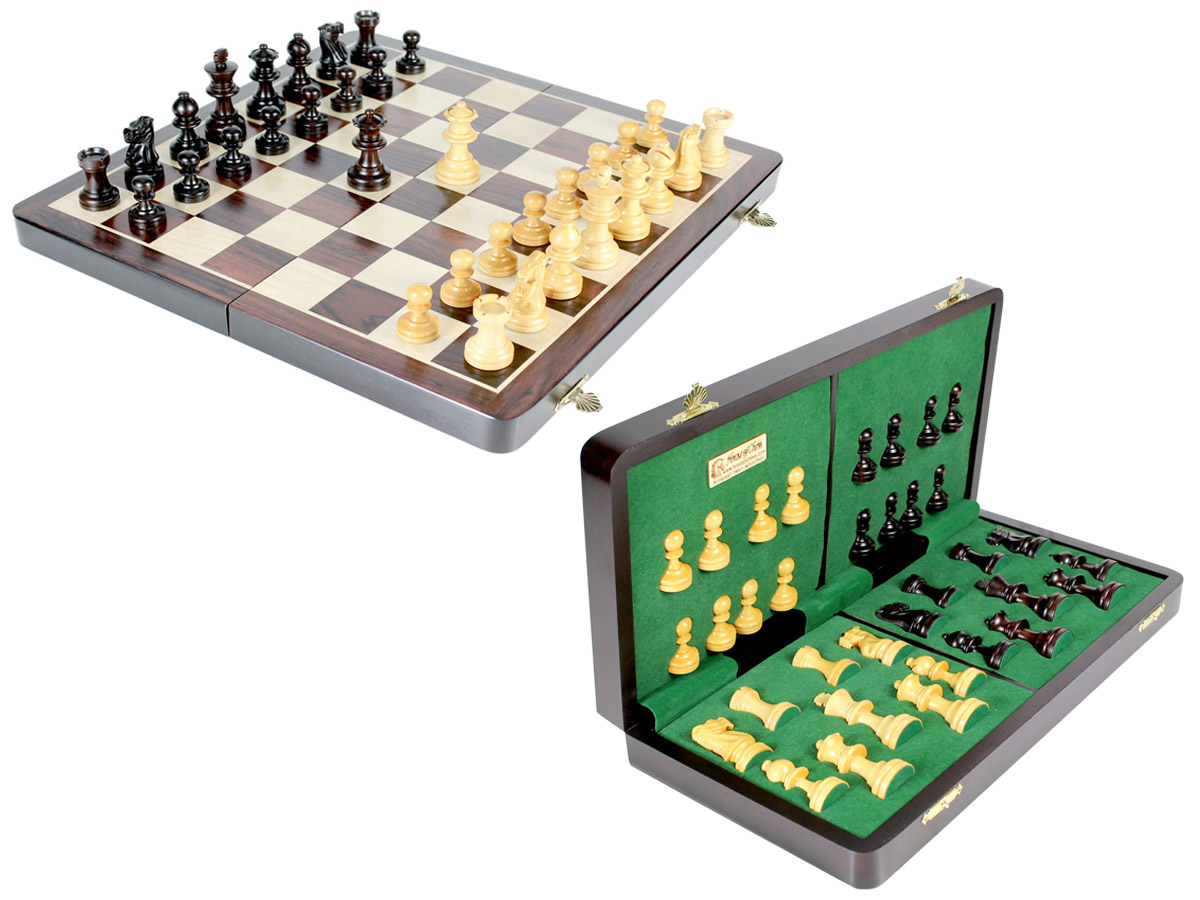 "Club Chess Set Wood Magnetic Folding 16"" Rosewood/Maple King Size 3"" + 2 Extra Queens"