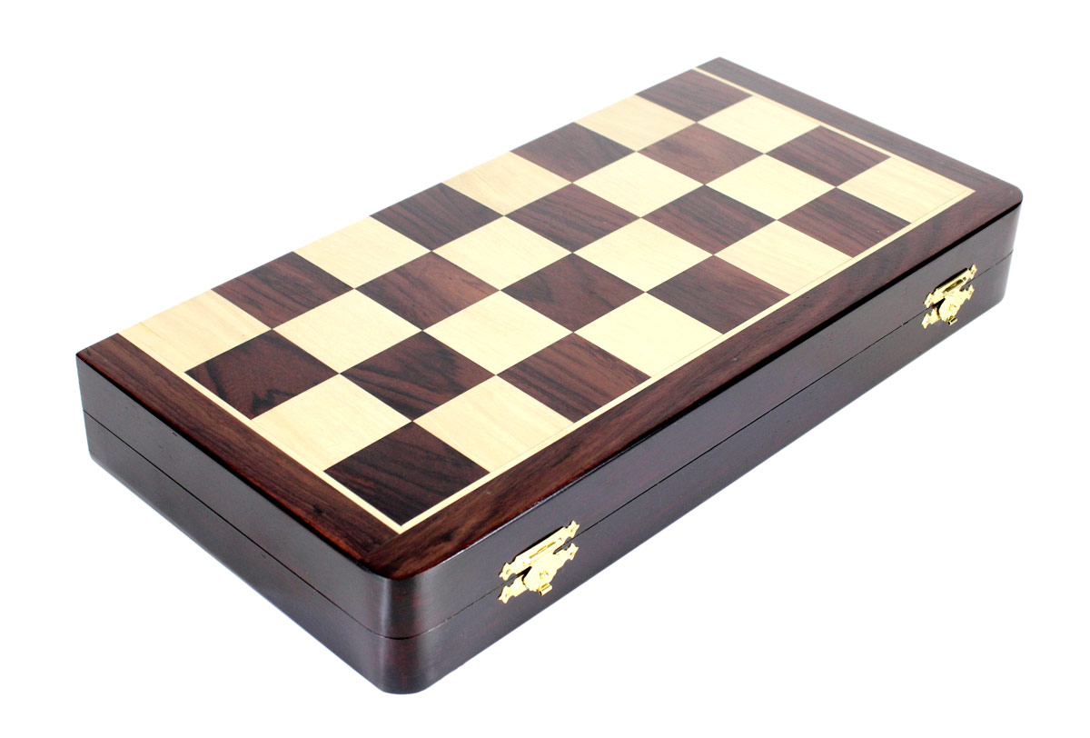 Wooden Club chess set folding 16 inch