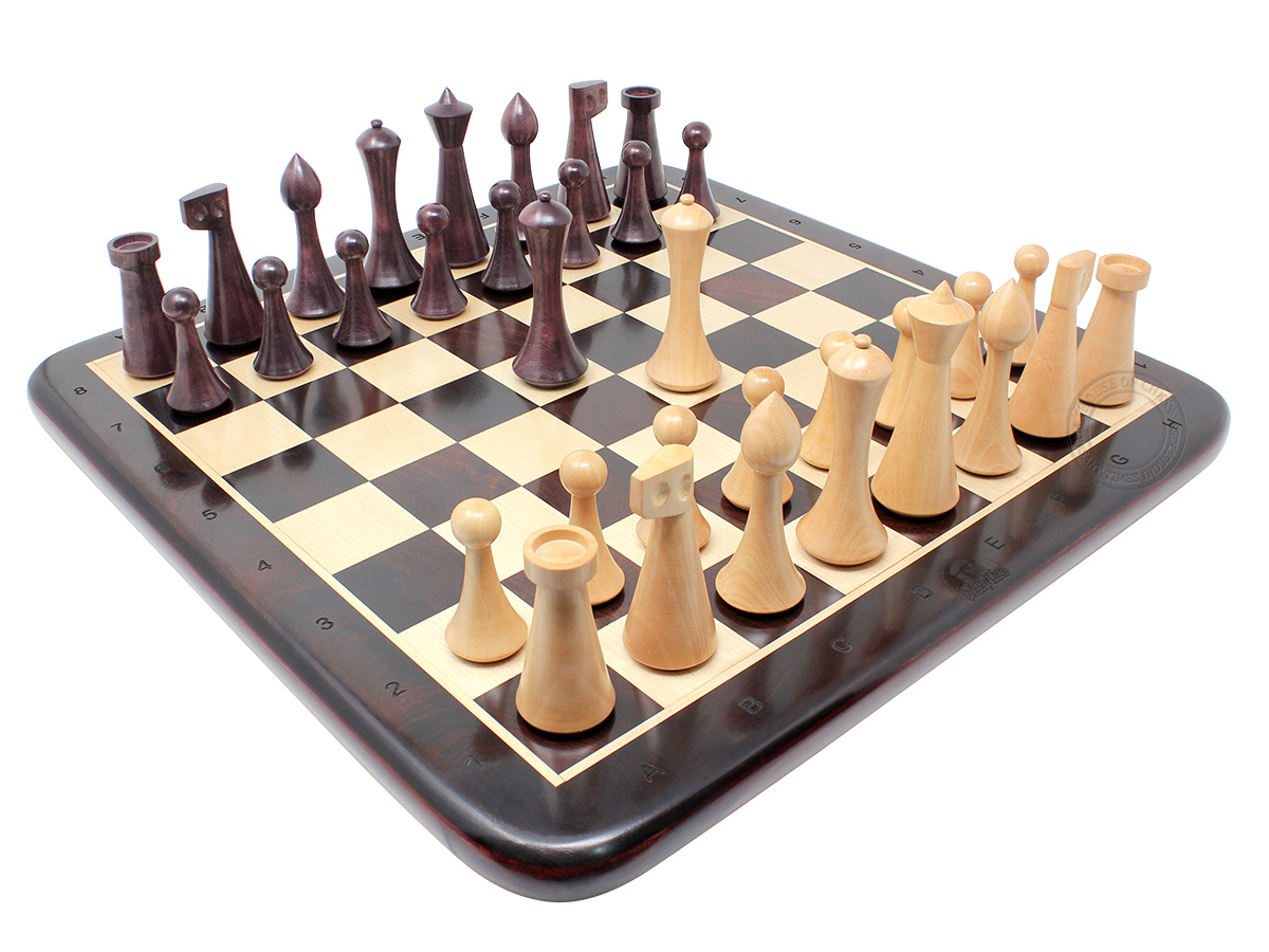 "House of Chess Reproduced Abstract Design 3.75"" Chess Pieces + 17"" Chess Board - Ringy Rosewood"