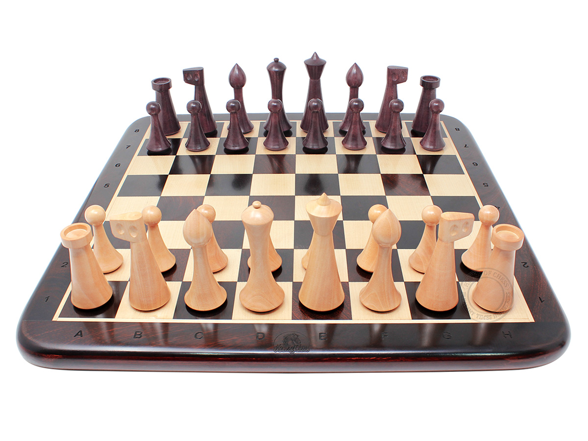 """House of Chess Reproduced Abstract Design 3.75"""" Chess Set + 17"""" Chess Board - Ringy Rosewood"""
