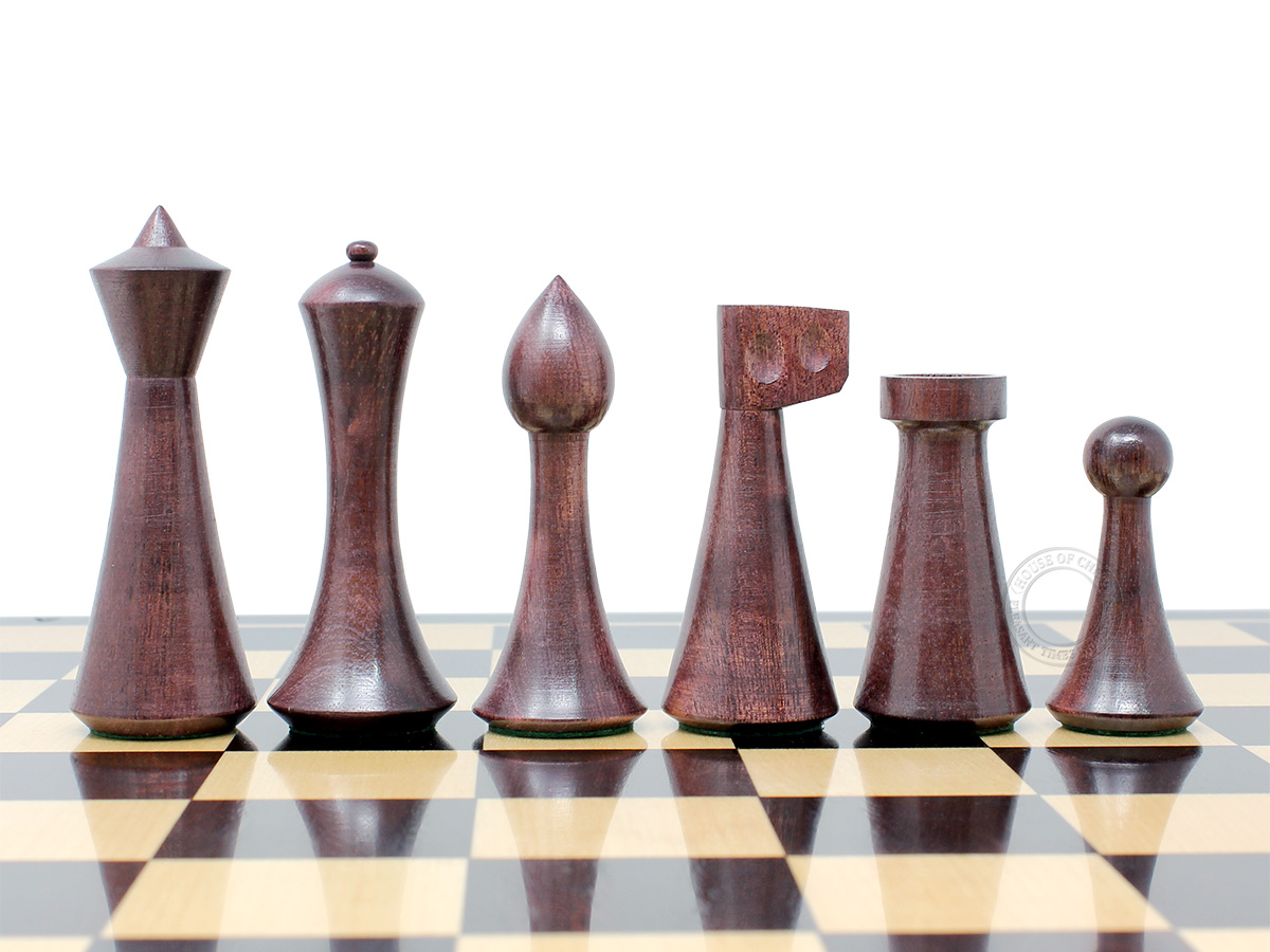 """House of Chess Reproduced Abstract Design 3.75"""" Chess Pieces Ringy Rosewood"""