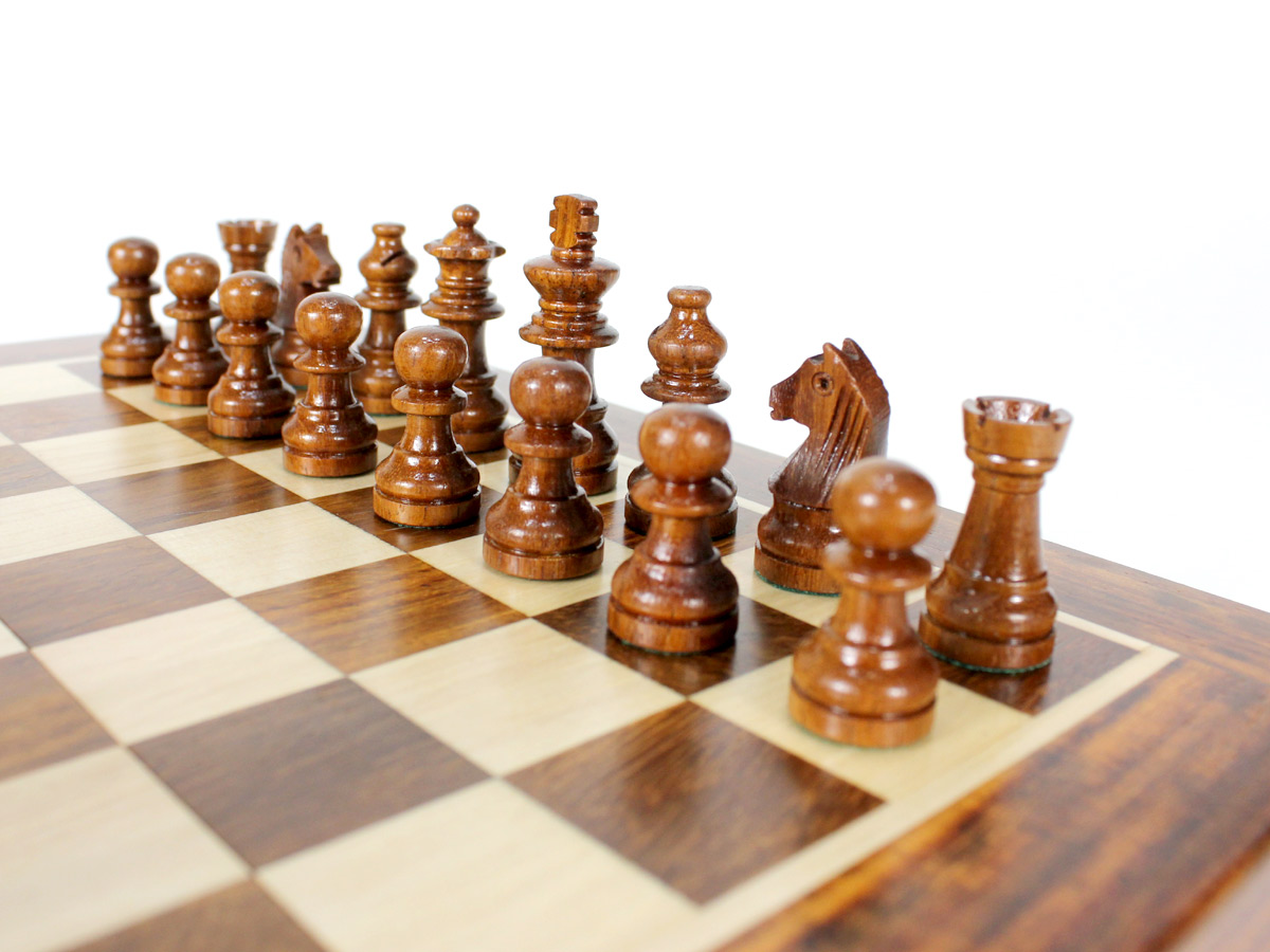 Close up view of Golden Rosewood chess pieces
