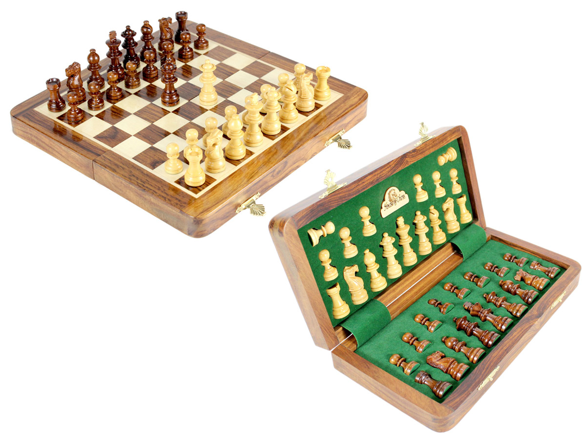 "10"" Wooden Chess Set Travel Magnetic Folding Board Golden Rosewood + 2 Extra Queens"