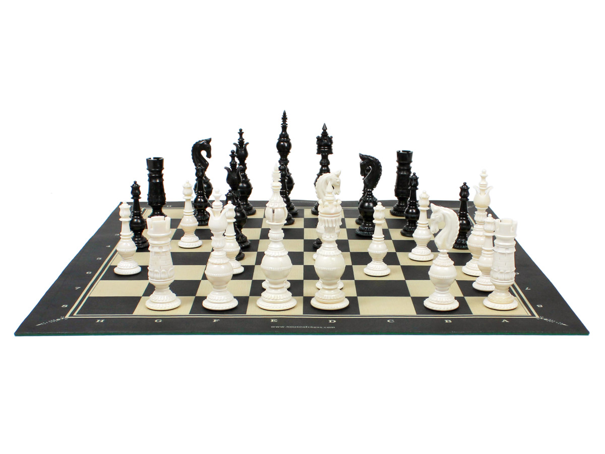 Camel Bone Chess Pieces on Woodtex Roll Up Chess Board
