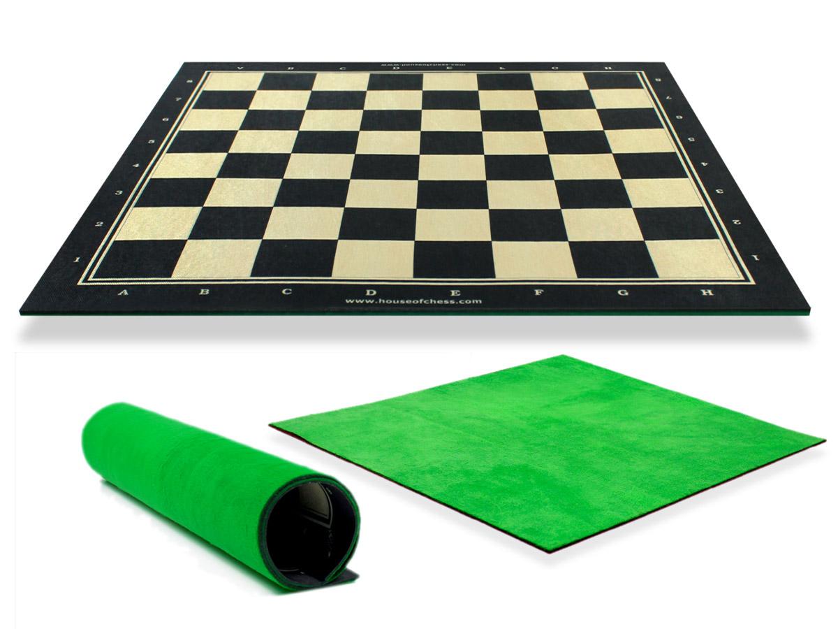 Woodtex Silk/Rayon Ebonywood Textured Roll Up Chess Board with super soft plush fleece back