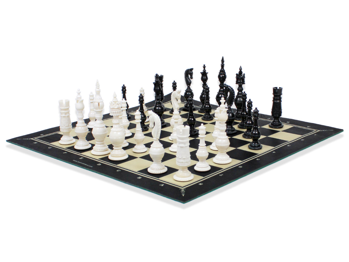Side view of chess board with camel bone pieces