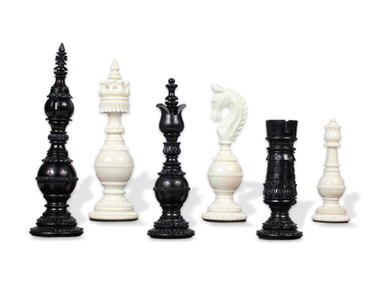 Carloman Antique Reproduced Camel Bone Chess Set Pieces